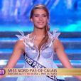 Camille Cerf (Miss Nord-Pas-de-Calais) défile dans l'univers de la Reine des Neiges, lors de la cérémonie de Miss France 2015 sur TF1, le samedi 6 décembre 2014.