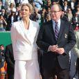 La princesse Charlene et le prince Albert II de Monaco le 20 avril 2014 lors de la finale du Rolex Masters de Monte-Carlo, remportée par Stanislas Wawrinka.