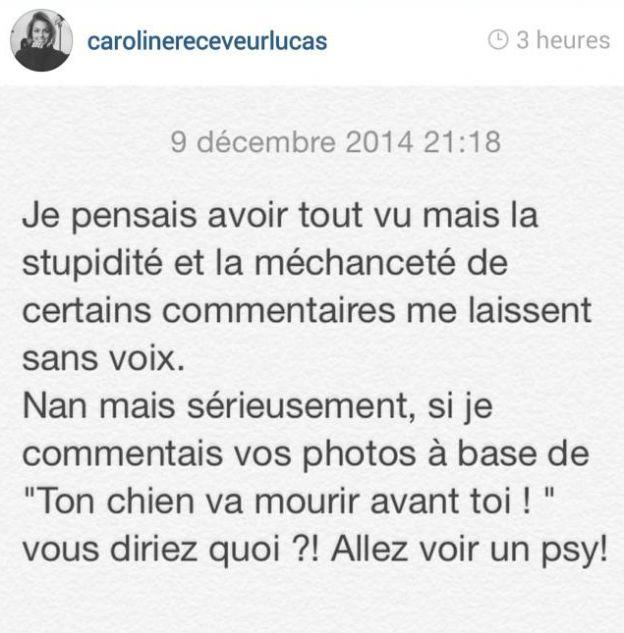 Caroline Receveur a posté sur Instagram un message dans lequel elle fait part de son coup de gueule. Décembre 2014.