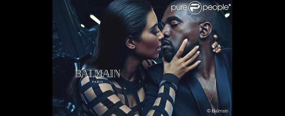 Kim Kardashian et son mari Kanye West apparaîssent sur une nouvelle campagne publicitaire de Balmain. Décembre 2014.