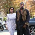 Kim Kardashian et Kanye West à Paris, après le défilé Balmain. Le 25 septembre 2014.