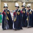 """""""Le prince Andrew, le prince Edward, le prince William et le prince Charles   lors des cérémonies de l'ordre de la jarretière le 16 juin 2014 """""""
