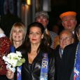 La princesse Stéphanie de Monaco et sa fille Camille Gottlieb ont assisté, en compagnie de Robert Hossein et sa femme Candice Patou, à la 3e soirée du 39e Festival International du Cirque de Monte-Carlo au Chapiteau de Fontvieille, le 17 janvier 2015 à Monaco.