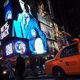 Eric Cantona sur le panneau lumineux American Eagle de Times Square à New York pour célébrer son arrivée au Cosmos, le 19 janvier 2011
