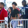 Rihanna lors de son arrivée au Super Bowl qui opposait les New England Patriots aux Seahawks de Seattle le 1er février 2015 au Phoenix Stadium de Glendale
