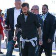David Beckham lors de son arrivée au Super Bowl qui opposait les New England Patriots aux Seahawks de Seattle le 1er février 2015 au Phoenix Stadium de Glendale