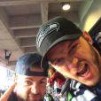 Chris Pratt et Chris Evans lors du Super Bowl qui opposait les New England Patriots aux Seahawks de Seattle le 1er février 2015 au Phoenix Stadium de Glendale