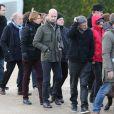 Laurent Léger, Caroline Fourest, sa compagne Fiammetta Venner et guests - Obsèques du dessinateur Charb (Stéphane Charbonnier) à la Halle Saint-Martin à Pontoise, le 16 janvier 2015.