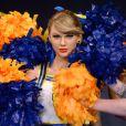 Nouvelle statue de cire pour Taylor Swift qui s'est vue rhabillée aux couleurs de son dernier tube Shake It Off, au musée Madame Tussauds de Londres le 10 février 2015