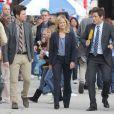 Amy Poehler, Adam Scott et Rob Lowe sur le tournage de 'Parks and Recreation' à Pasadena, le 6 mars 2013
