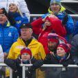 Prince Haakon et Mette-Marit de Norvège- La famille royale suédoise et la famille royale norvégienne assistent aux championnats du monde de ski nordique à Falun en Suède, le 27 février 2015.