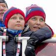 Princesse Mette-Marit, prince Haakon de Norvège et leurs enfants prince Sverre Magnus et princesse Ingrid Alexandra - La famille royale suédoise et la famille royale norvégienne assistent aux championnats du monde de ski nordique à Falun en Suède, le 27 février 2015.