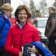 La reine Silvia de Suède - La famille royale suédoise et la famille royale norvégienne assistent aux Championnats du monde de ski nordique de la FIS à Falun le 27 février 2015