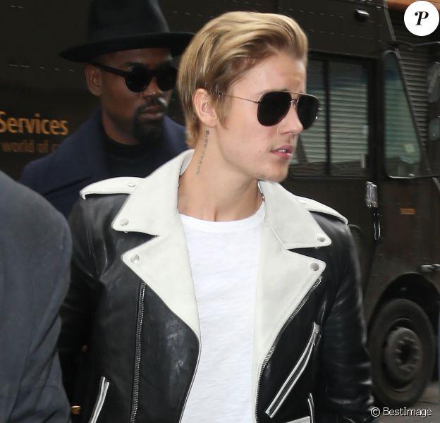 """Justin Bieber au lancement de la """"Adidas Yeezy 750 Boost"""", issue de la collaboration entre Kanye West et Adidas, lors de la fashion week à New York, le 12 février 2015."""
