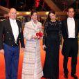 Le prince Albert II de Monaco et la princesse Caroline de Hanovre avec Andrea Casiraghi et son épouse Tatiana Santo Domingo, enceinte, lors du gala de la Fête nationale monégasque le 19 novembre 2014