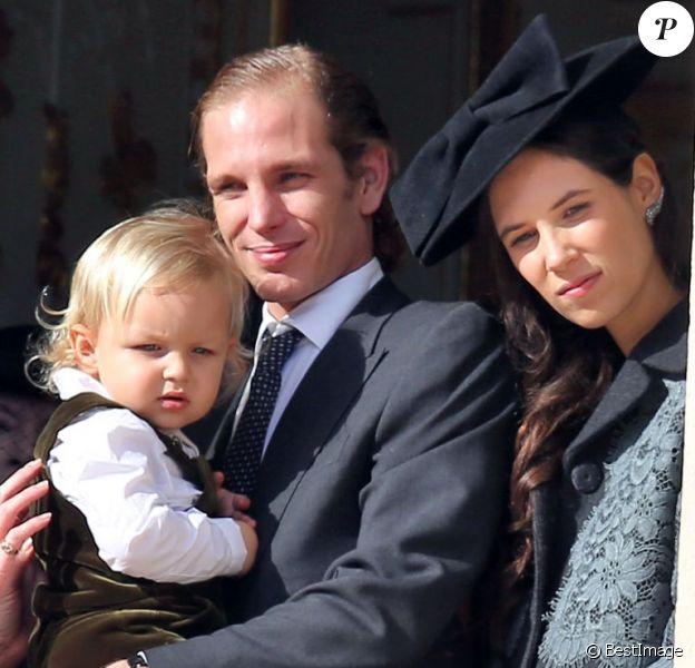 La princesse Caroline de Hanovre, la princesse Stéphanie de Monaco, Andrea Casiraghi, son fils Sacha Casiraghi et Tatiana Santo Domingo, enceinte de leur second enfant, le 19 novembre 2014 au palais princier pour la Fête nationale monégasque