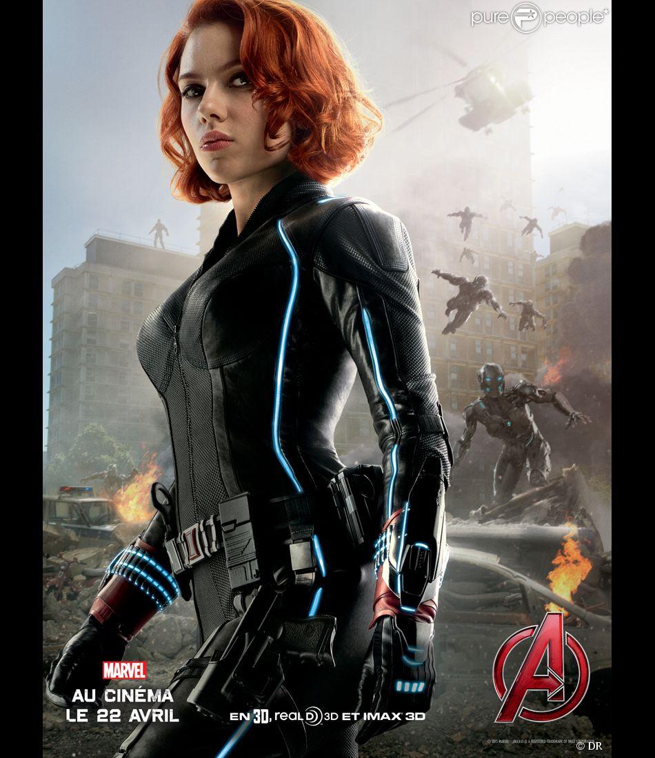 Affiche du film Avengers - L'ère d'Ultron avec Scarlett Johansson (la Veuve noire)