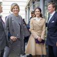Le roi Willem-Alexander et la reine Maxima des Pays-Bas accompagnés du prince Frederik et de la princesse Mary de Danemark ont assisté à une conférence à l'université d'Aalborg à Copenhague, le 17 mars 2015.