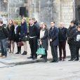 La famille d'Alexis Vastine, son père Alain, sa mère Sylvie, sa soeur Cassie et son frère Adriani lors de ses obsèques en l'église Saint-Ouen de Pont-Audemer le 25 mars 2015
