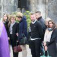 La famille d'Alexis Vastine, son père Alain, sa mère Sylvie, sa soeur Cassie, son frère Adriani lors des obsèques d'Alexis Vastine en l'église Saint-Ouen de Pont-Audemer le 25 mars 2015
