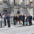 La famille d'Alexis Vastine, son père Alain, sa mère Sylvie, sa soeur Cassie et son frère Adriani lors de ses obsèques en l'église Saint-Ouen à Pont-Audemer le 25 mars 2015