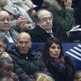Noël Le Graët, Zinédine Zidane et sa femme Véronique lors de la rencontre entre l'équipe de France et la sélection brésilienne, au Stade de France à Paris le 26 mars 2015
