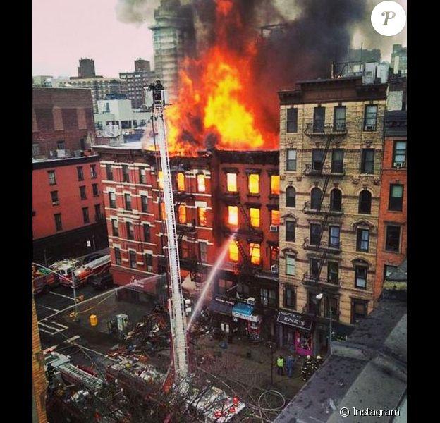 Drea de Matteo a posté un cliché de son immeuble en feu le 26 mars 2015