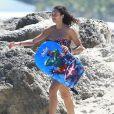 Boris Becker, sa femme Lilly Becker (Kerssenberg) et leur fils Amadeus profitent d'une journée à la plage à Miami, le 3 avril 2015.