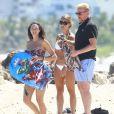 Boris Becker, sa ravissante femme Lilly Becker (Kerssenberg) et leur fils Amadeus profitent d'une journée à la plage à Miami, le 3 avril 2015.