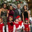 Barack Obama, Michelle Obama, Sasha et Malia, à Washington, le 14 décembre 2014
