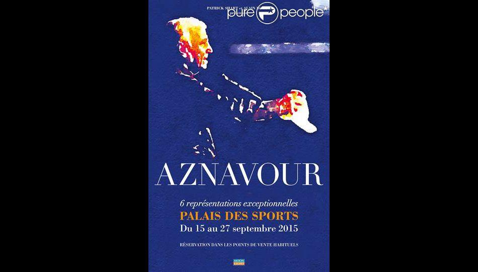 Affiche des concerts parisiens de Charles Aznavour en septembre 2015
