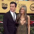"""Jennifer Aniston et son fiancé Justin Theroux - 21ème cérémonie annuelle des """"Screen Actors Guild Awards"""" à l'auditorium """"The Shrine"""" à Los Angeles, le 25 janvier 2015."""