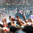 Indochine en concert au Stade France à Paris le 27 juin 2014.