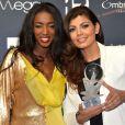 Hapsatou Sy et Nawell Madani (globe du meilleur One Man Show) - Personnalités lors de la 10ème cérémonie des Globes de Cristal au Lido à Paris, le 13 avril 2015.