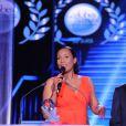 Exclusif - Christine Kelly et Bernard Montiel - Intérieur - 10ème cérémonie des Globes de Cristal au Lido à Paris, le 13 avril 2015.