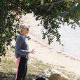 Miley Cyrus et son chien lors d'une randonnée à Los Angeles, le 11 avril 2015