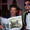 Pascal Elbé et Arthur de Soultrait (fondateur de la marque Vicomte A.) - Soirée des 10 ans de la marque Vicomte A. à Paris le 10 avril 2015.