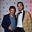 Pascal Elbé et Arthur de Soultrait (fondateur de la marque Vicomte A.) - Soirée des 10 ans de la marque Vicomte A. à Paris le 10 avril 2015