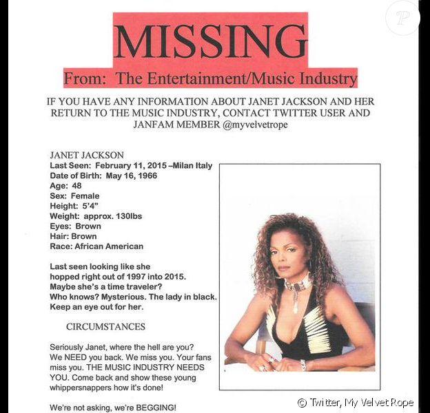 Une jeune femme prénommée Neka a lancé un avis de recherche sur son idole, la chanteuse Janet Jackson. Avril 2015.