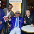 Bernard Montiel, Michou et Jean-Jacques Debout - La République de Montmartre célèbre Radio Montmartre au restaurant La Bonne Franquette à Paris, le 22 avril 2015.