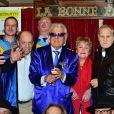 Charles Dumont, Michou et Jean-Jacques Debout - La République de Montmartre célèbre Radio Montmartre au restaurant La Bonne Franquette à Paris, le 22 avril 2015