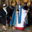 La reine Elizabeth II, avec son époux le prince Philip, assistait à une messe en l'abbaye de Westminster pour le centenaire de la bataille de Gallipoli, le 25 avril 2015.