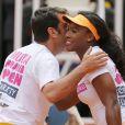Arturo Valls et Serena Williams jouent au tennis lors d'une journée caritative au Masters de Madrid, le 1er mai 2015