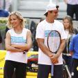 Elsa Pataky et Fernando Verdasco jouent au tennis lors d'une journée caritative au Masters de Madrid, le 1er mai 2015