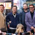 "Robert Downey Jr., Chris Evans, Mark Ruffalo, Jeremy Renner - Les acteurs du film ""Avengers : L'ère d'Ultron"" à leur arrivée dans les studios de Good Morning America à New York le 24 avril 2015"