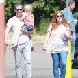 Exclusif - Amy Adams est allée déjeuner avec son fiancé Darren Le Gallo et sa fille Aviana à Studio City, le 3 octobre 2014