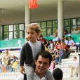 Sergio Alvarez et son fils Amancio, fruit de son mariage avec Maria Ortega, au Longines Global Champions Tour à Madrid le 1er mai 2015