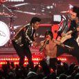 Bruno Mars et les Red Hot Chili Peppers lors du Super Bowl à Rutherford, le 2 février 2014.
