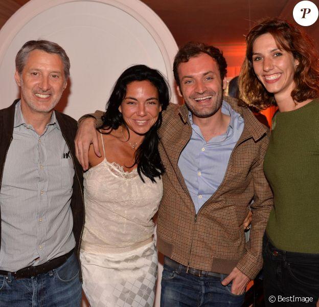 Exclusif - Antoine de Caunes, Sandra Zeitoun De Matteis, Augustin Trapenard et Doria Tillier - Dîner de l'équipe du Grand Journal de Canal Plus à la suite Sandra and Co au 63 la Croisette, à l'occasion du 68ème festival international du film de Cannes. Le 12 mai 2015