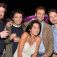 Exclusif - Pierre Siankowski, Nicolas Nerrant (programmateur musical de Canal+), Augustin Trapenard, Mathias Hillion (rédacteur en chef du Grand Journal) et Sandra Zeitoun de Matteis - Dîner de l'équipe du Grand Journal de Canal Plus à la suite Sandra and Co au 63 la Croisette, à l'occasion du 68e Festival international du film de Cannes. Le 12 mai 2015